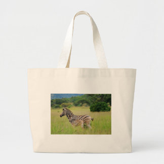Zebra baby and mom large tote bag