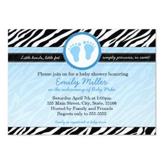 Zebra Baby Boy Shower Invitation Blue