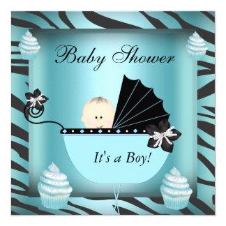 Zebra Baby Shower Baby Boy Teal Cupcake Card