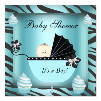 Zebra Baby Shower Baby Boy Teal Cupcake 5.25x5.25 Square Paper Invitation Card