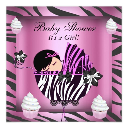 Zebra baby shower baby girl pink cupcake card zazzle for Pink and zebra bathroom ideas