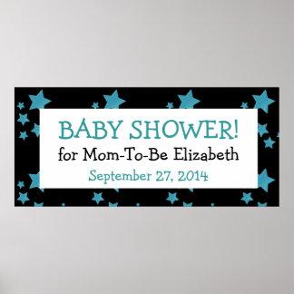 Zebra Baby Shower Banner Blue Stars Custom Name 1 Poster