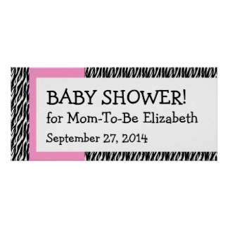 Zebra Baby Shower Banner Pink Accent Custom Name 1 Poster