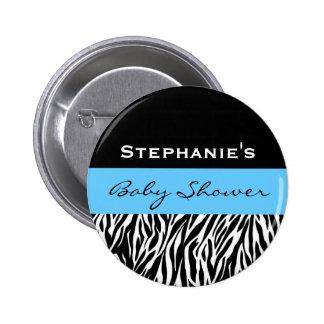 Zebra Baby Shower Custom Name 2 Inch Round Button