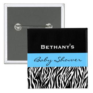 Zebra Baby Shower for Boy Custom Name V3 Pinback Button