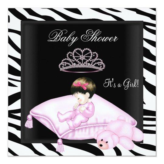 Zebra Baby Shower Girl Pink Black White Princess Card