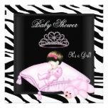 Zebra Baby Shower Girl Pink Black White Princess Personalized Invitations