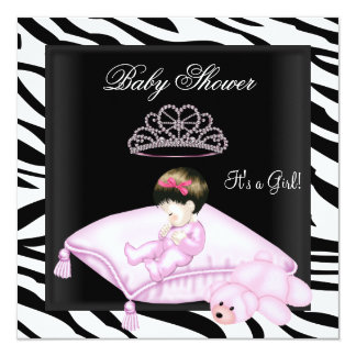 Zebra Baby Shower Girl Pink Black White Princess Personalized Invitations