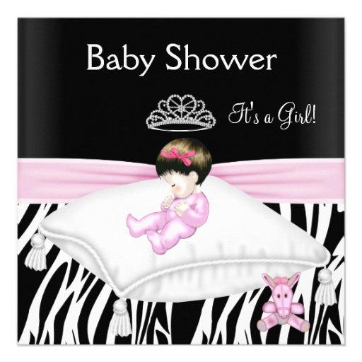 Zebra Baby Shower Girl Pink Black White Princess Announcement