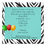"""Zebra Baby Shower Party teal 5.25"""" Square Invitation Card"""
