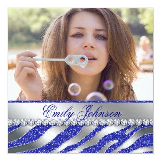 Zebra Bachelorette Party Blue Silver Jewelry Invitation