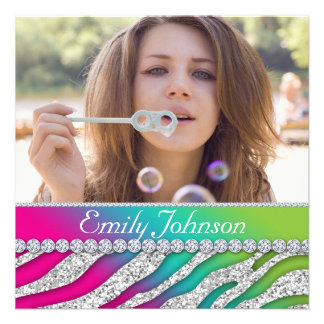 Zebra Bachelorette Party Pink Green Jewelry Personalized Announcements