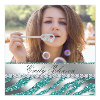 Zebra Bachelorette Party Teal Silver Jewelry Invitation