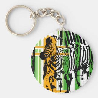 Zebra Basic Round Button Keychain