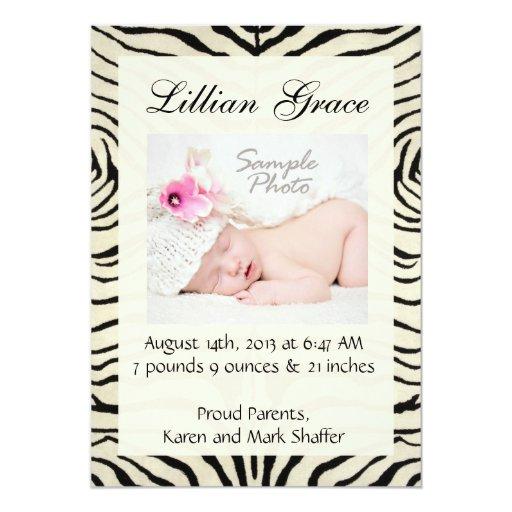 """Zebra Birth Announcements 5"""" X 7"""" Invitation Card"""