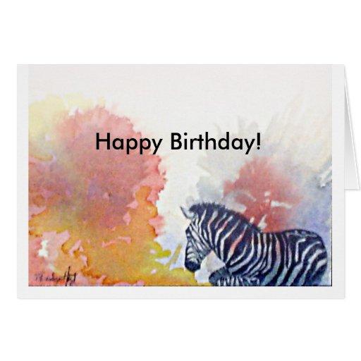 Zebra Birthday Card