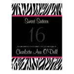zebra; birthday invitation post cards