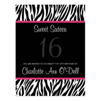 zebra; birthday invitation postcard