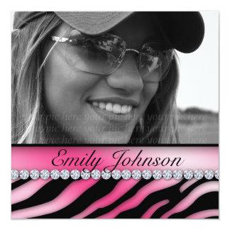 Zebra Birthday Party Pink Black Jewelry Invitation