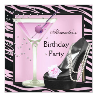 Zebra Birthday Party Pink Black Shoes 5.25x5.25 Square Paper Invitation Card
