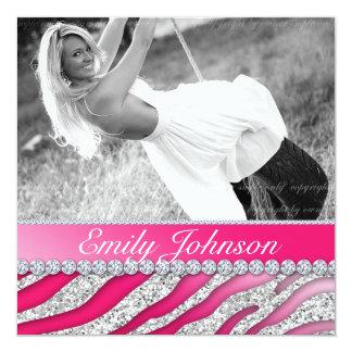 Zebra Birthday Party Red Pink Glitter Jewelry Invitation