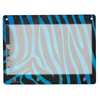 Zebra Black and Blue Print Dry Erase Board With Keychain Holder