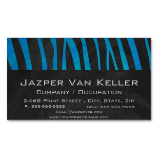 Zebra Black and Blue Print Magnetic Business Card