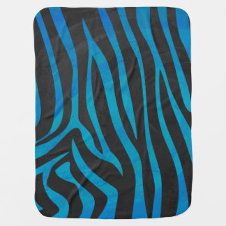 Zebra Black and Blue Print Swaddle Blanket