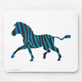 Zebra Black and Blue Silhouette Mouse Pad