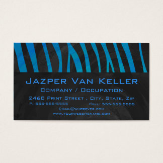 Zebra Black and Blue with Monogram Business Card
