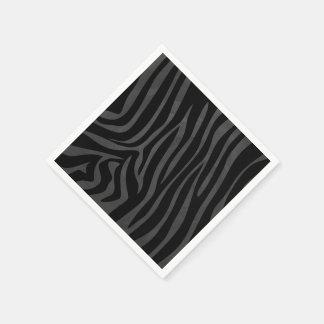 Zebra Black and Gray Print Standard Cocktail Napkin