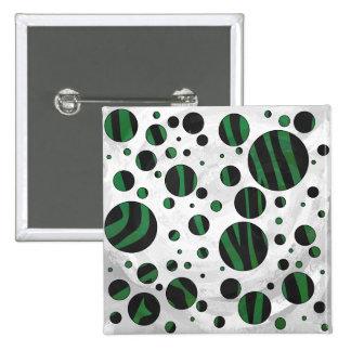 Zebra Black and Green Polka Dot Pinback Button