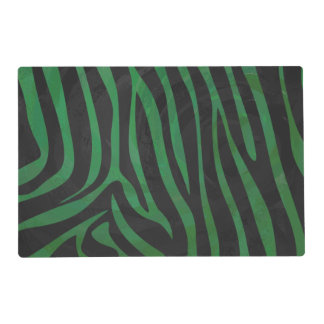 Zebra Black and Green Print Laminated Place Mat
