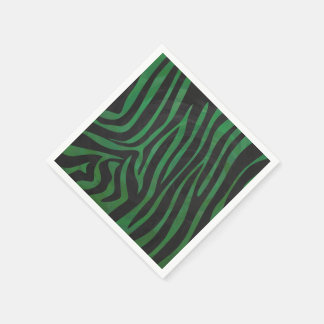 Zebra Black and Green Print Standard Cocktail Napkin