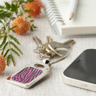 Zebra Black and Hot Pink Print Keychain