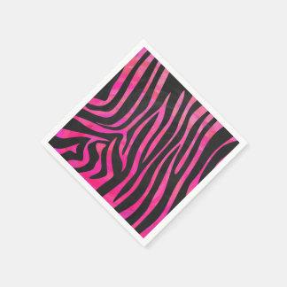 Zebra Black and Hot Pink Print Standard Cocktail Napkin