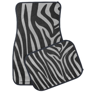 Zebra Black and Light Gray Print Car Floor Mat