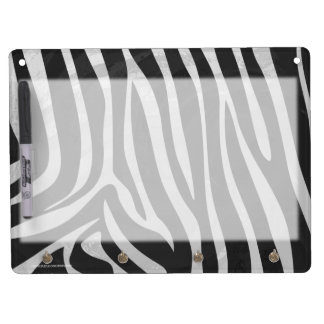 Zebra Black and Light Gray Print Dry Erase Board With Keychain Holder