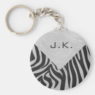 Zebra Black and Light Gray Print Basic Round Button Keychain
