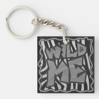 Zebra Black and Light Gray Print Single-Sided Square Acrylic Keychain
