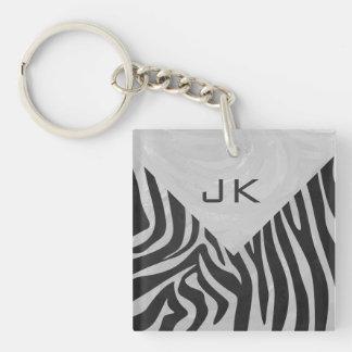Zebra Black and Light Gray Print Double-Sided Square Acrylic Keychain