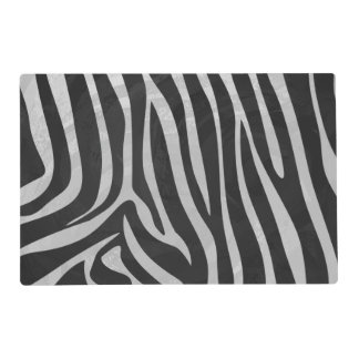 Zebra Black and Light Gray Print Laminated Placemat