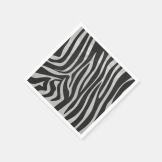 Zebra Black and Light Gray Print Standard Cocktail Napkin