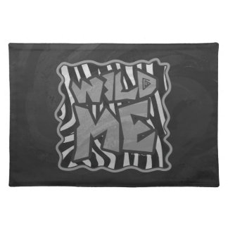 Zebra Black and Light Gray Print Cloth Placemat