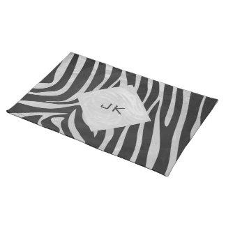 Zebra Black and Light Gray Print Cloth Place Mat