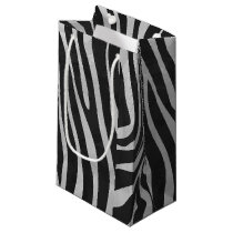 Zebra Black and Light Gray Print Small Gift Bag