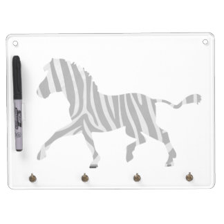 Zebra Black and Light Gray Silhouette Dry Erase Board With Keychain Holder