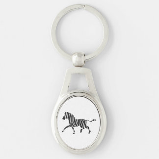 Zebra Black and Light Gray Silhouette Silver-Colored Oval Metal Keychain