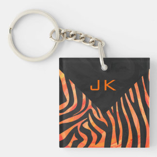 Zebra Black and Orange Print Double-Sided Square Acrylic Keychain