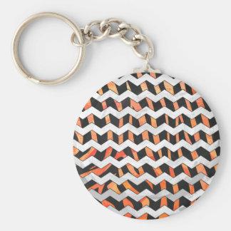 Zebra Black and Orange Print Basic Round Button Keychain